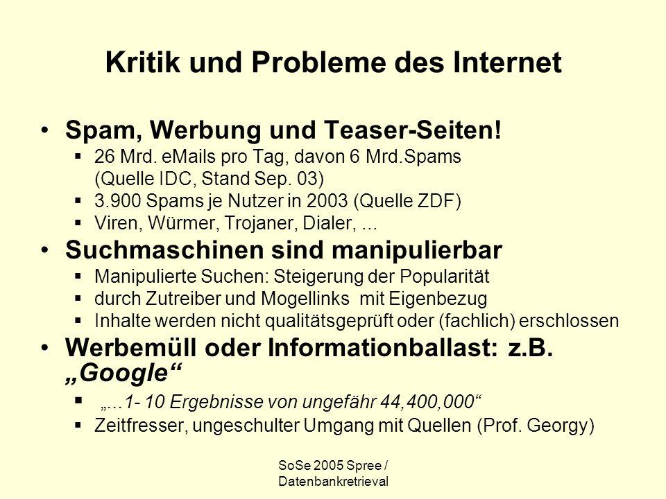 SoSe 2005 Spree / Datenbankretrieval Kritik und Probleme des Internet Spam, Werbung und Teaser-Seiten! 26 Mrd. eMails pro Tag, davon 6 Mrd.Spams (Quel