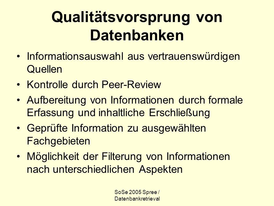 SoSe 2005 Spree / Datenbankretrieval Qualitätsvorsprung von Datenbanken Informationsauswahl aus vertrauenswürdigen Quellen Kontrolle durch Peer-Review Aufbereitung von Informationen durch formale Erfassung und inhaltliche Erschließung Geprüfte Information zu ausgewählten Fachgebieten Möglichkeit der Filterung von Informationen nach unterschiedlichen Aspekten