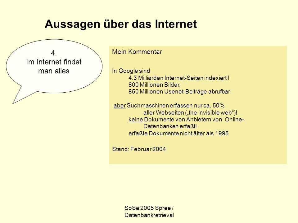 SoSe 2005 Spree / Datenbankretrieval Internet und Informationssuche Wenn ich suche, finde ich immer etwas.