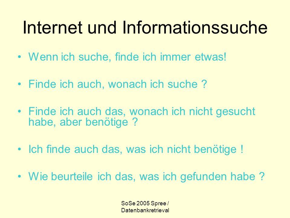 SoSe 2005 Spree / Datenbankretrieval Internet und Informationssuche Wenn ich suche, finde ich immer etwas! Finde ich auch, wonach ich suche ? Finde ic