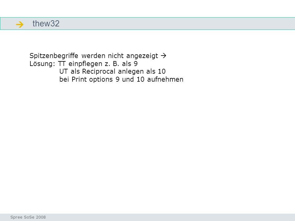 thew32 Arbeitsschritte Seminar I-Prax: Inhaltserschließung visueller Medien, 5.10.2004 Spree SoSe 2008 Spitzenbegriffe werden nicht angezeigt Lösung: TT einpflegen z.