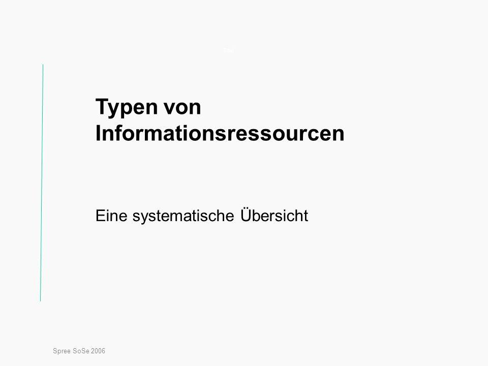 Spree SoSe 2006 Titel Typen von Informationsressourcen Eine systematische Übersicht