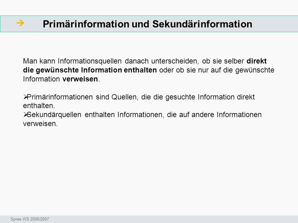 Primärinformation und Sekundärinformation ArbeitsschritteW Seminar I-Prax: Inhaltserschließung visueller Medien, 5.10.2004 Spree WS 2006/2007 Man kann Informationsquellen danach unterscheiden, ob sie selber direkt die gewünschte Information enthalten oder ob sie nur auf die gewünschte Information verweisen.