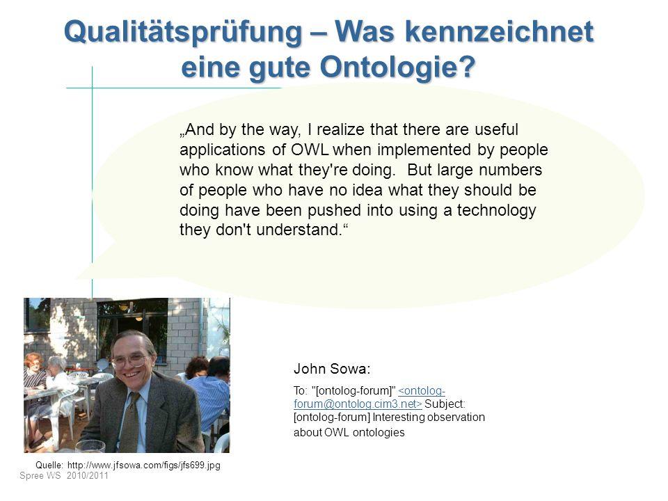 Spree WS 2010/2011 Qualitätsprüfung – Was kennzeichnet eine gute Ontologie? John Sowa: To: