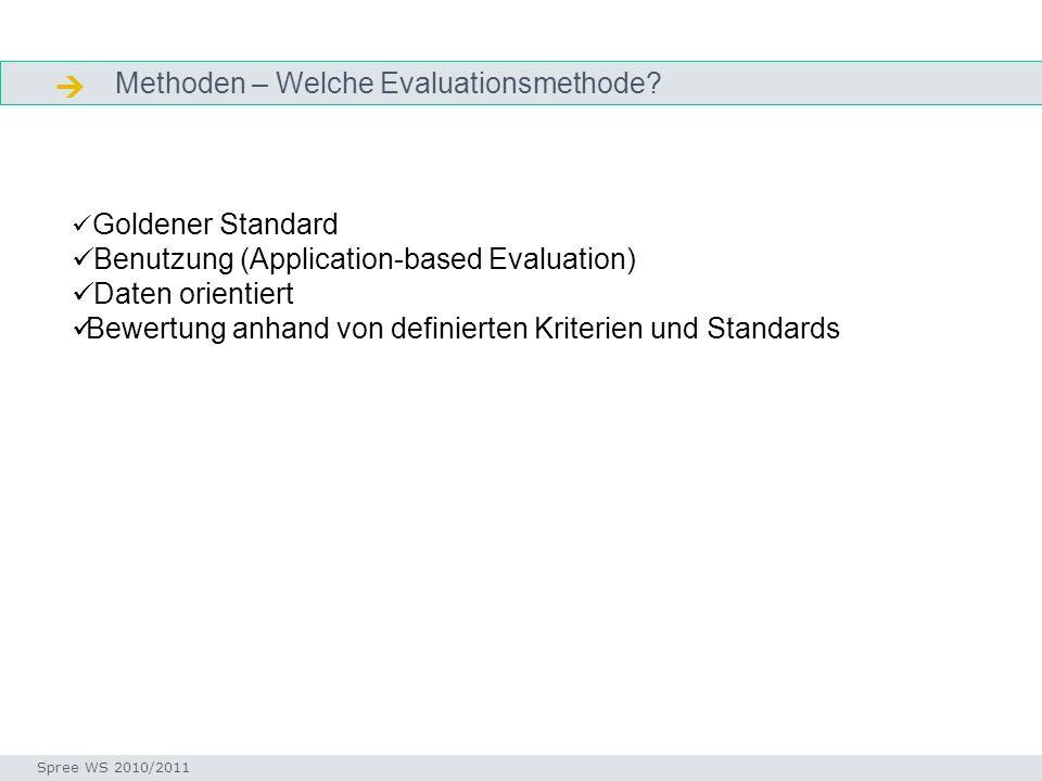 Methoden – Welche Evaluationsmethode? Facetten Seminar I-Prax: Inhaltserschließung visueller Medien, 5.10.2004 Spree WS 2010/2011 Goldener Standard Be