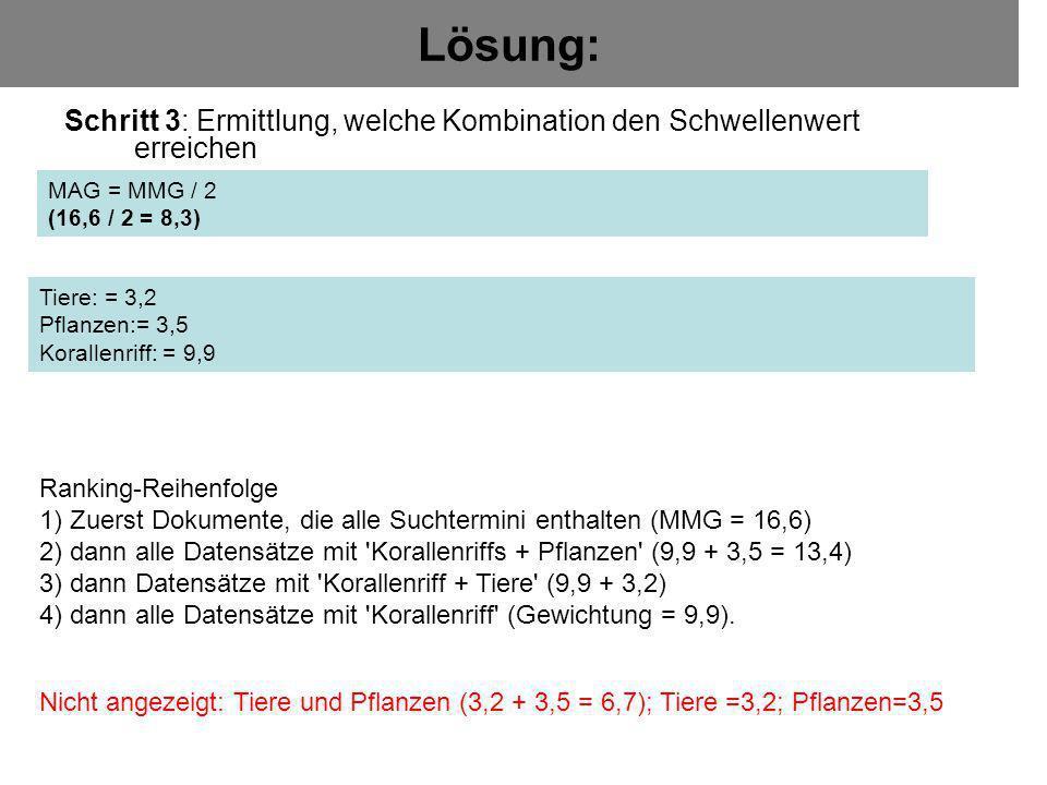 Lösung: Schritt 3: Ermittlung, welche Kombination den Schwellenwert erreichen MAG = MMG / 2 (16,6 / 2 = 8,3) Ranking-Reihenfolge 1) Zuerst Dokumente,