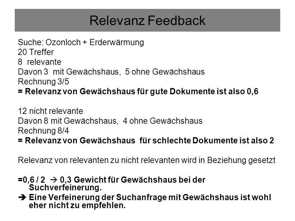 Relevanz Feedback Suche: Ozonloch + Erderwärmung 20 Treffer 8 relevante Davon 3 mit Gewächshaus, 5 ohne Gewächshaus Rechnung 3/5 = Relevanz von Gewäch