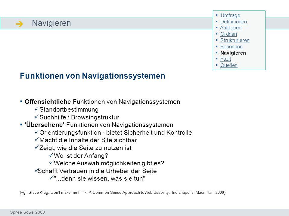Navigieren Navigieren Seminar I-Prax: Inhaltserschließung visueller Medien, 5.10.2004 Spree SoSe 2008 Funktionen von Navigationssystemen Offensichtlic