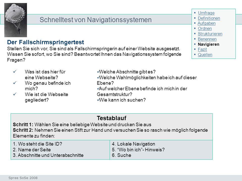 Schnelltest von Navigationssystemen Test Seminar I-Prax: Inhaltserschließung visueller Medien, 5.10.2004 Spree SoSe 2008 Der Fallschirmspringertest St