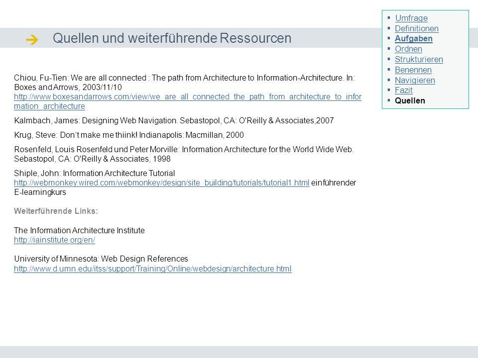 Quellen und weiterführende Ressourcen Quellen / Ressourcen Seminar I-Prax: Inhaltserschließung visueller Medien, 5.10.2004 Umfrage Definitionen Aufgab