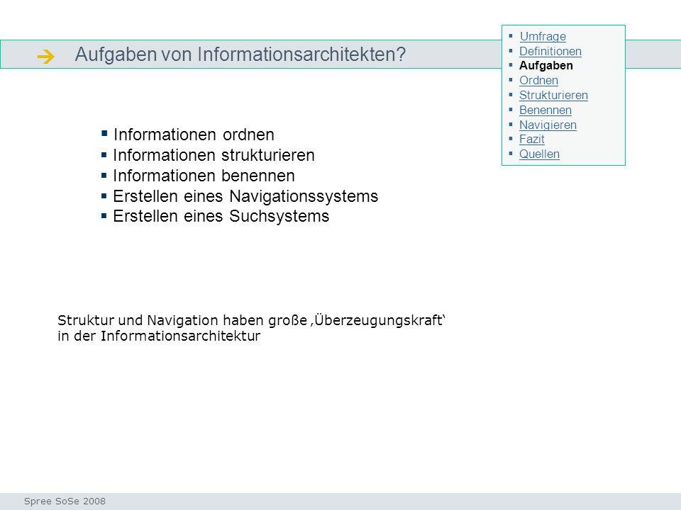 Aufgaben von Informationsarchitekten.