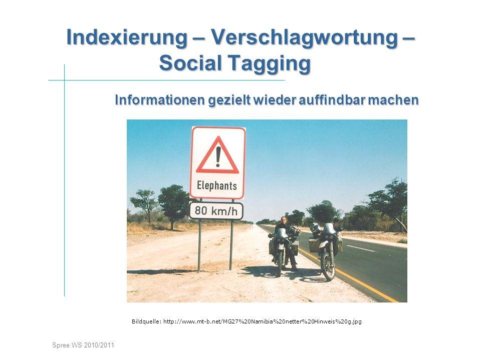 Spree WS 2010/2011 Indexierung – Verschlagwortung – Social Tagging Indexierung – Verschlagwortung – Social Tagging stieg Informationen gezielt wieder