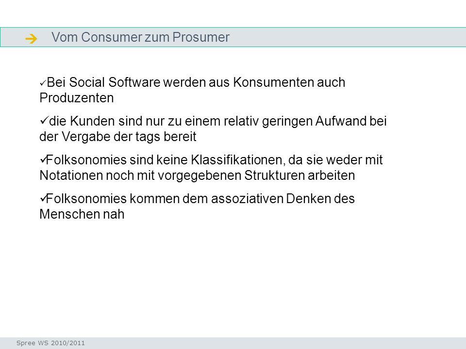 Vom Consumer zum Prosumer Definition Seminar I-Prax: Inhaltserschließung visueller Medien, 5.10.2004 Spree WS 2010/2011 Bei Social Software werden aus