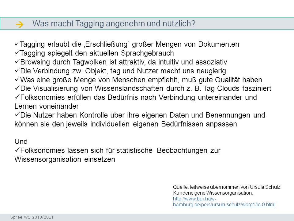 Was macht Tagging angenehm und nützlich? Definition Seminar I-Prax: Inhaltserschließung visueller Medien, 5.10.2004 Spree WS 2010/2011 Tagging erlaubt