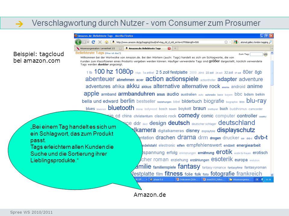 Verschlagwortung durch Nutzer - vom Consumer zum Prosumer Definition Seminar I-Prax: Inhaltserschließung visueller Medien, 5.10.2004 Spree WS 2010/201