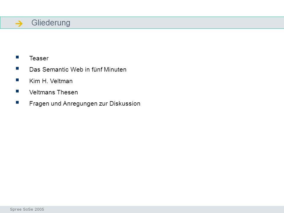 Gliederung Gliederung Teaser Das Semantic Web in fünf Minuten Kim H.