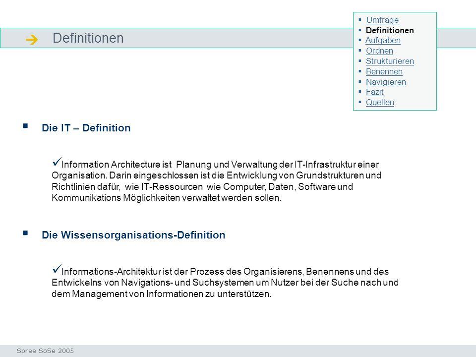 Definitionen Definitionen Die IT – Definition Information Architecture ist Planung und Verwaltung der IT-Infrastruktur einer Organisation.