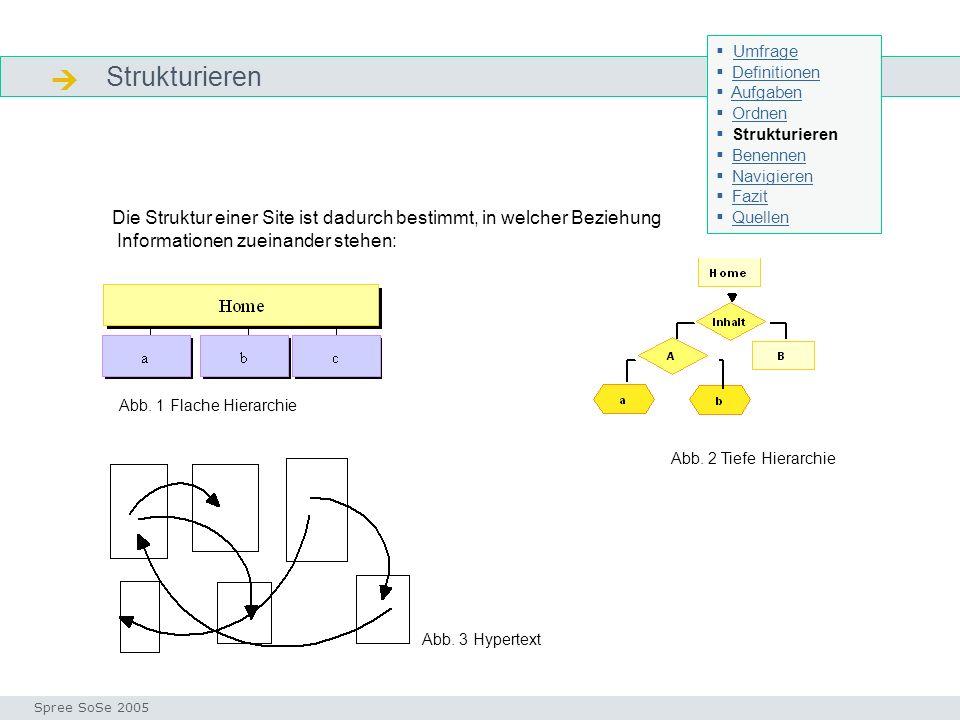 Strukturieren Strukturieren Seminar I-Prax: Inhaltserschließung visueller Medien, 5.10.2004 Spree SoSe 2005 Die Struktur einer Site ist dadurch bestimmt, in welcher Beziehung Informationen zueinander stehen: Abb.