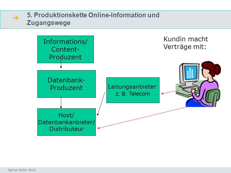 5. Produktionskette Online-Information und Zugangswege Fragen Seminar I-Prax: Inhaltserschließung visueller Medien, 5.10.2004 Spree SoSe 2010 Informat
