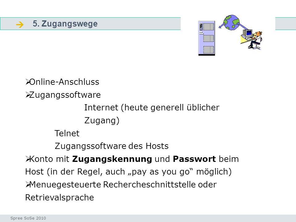 5. Zugangswege Fragen Seminar I-Prax: Inhaltserschließung visueller Medien, 5.10.2004 Spree SoSe 2010 Online-Anschluss Zugangssoftware Internet (heute