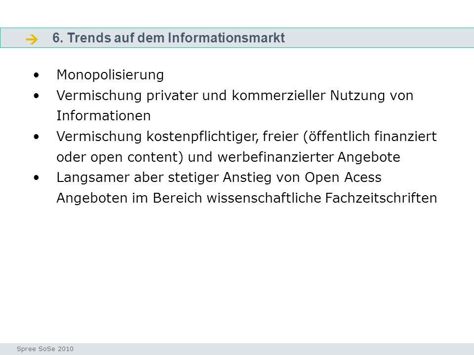 6. Trends auf dem Informationsmarkt Fragen Seminar I-Prax: Inhaltserschließung visueller Medien, 5.10.2004 Spree SoSe 2010 Monopolisierung Vermischung