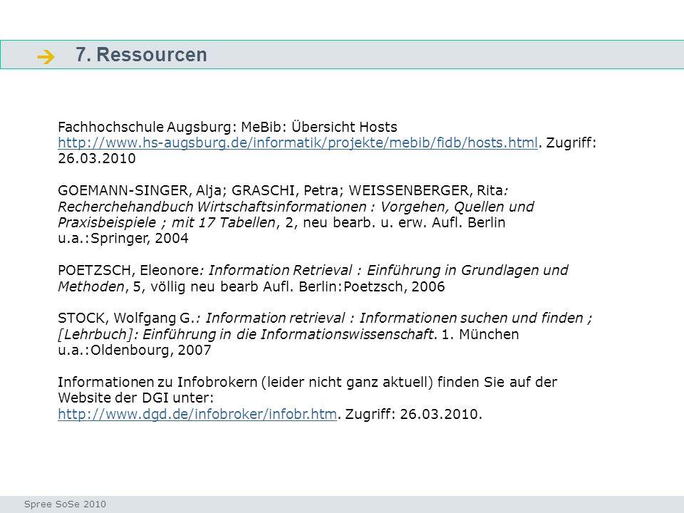 7. Ressourcen Fragen Seminar I-Prax: Inhaltserschließung visueller Medien, 5.10.2004 Spree SoSe 2010 Fachhochschule Augsburg: MeBib: Übersicht Hosts h