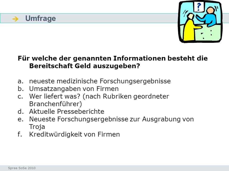 Umfrage Fragen Seminar I-Prax: Inhaltserschließung visueller Medien, 5.10.2004 Spree SoSe 2010 Für welche der genannten Informationen besteht die Bereitschaft Geld auszugeben.