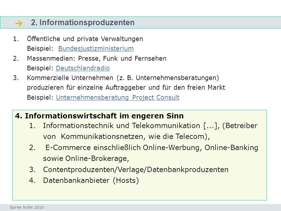 2. Informationsproduzenten Fragen Seminar I-Prax: Inhaltserschließung visueller Medien, 5.10.2004 Spree SoSe 2010 1.Öffentliche und private Verwaltung
