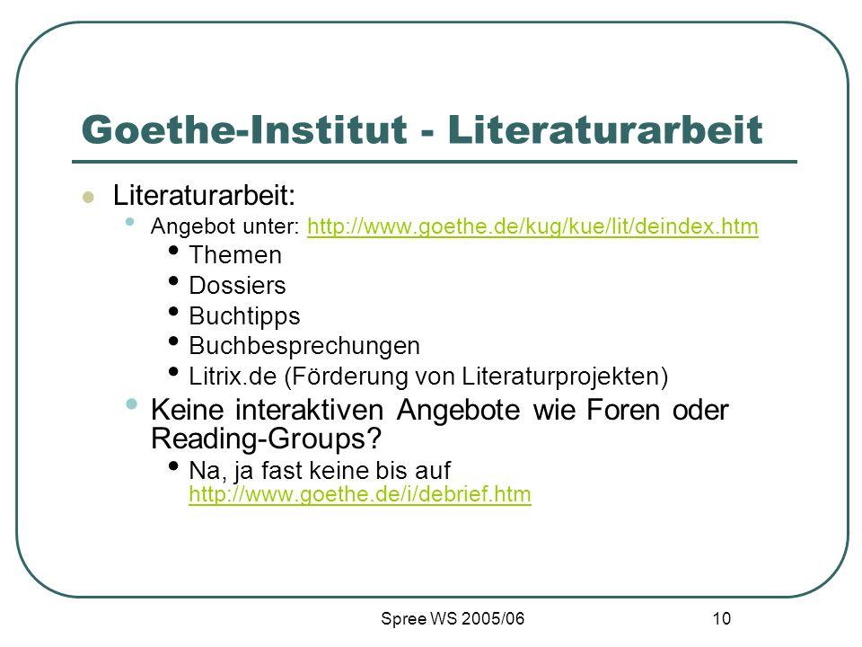 Spree WS 2005/06 10 Goethe-Institut - Literaturarbeit Literaturarbeit: Angebot unter: http://www.goethe.de/kug/kue/lit/deindex.htmhttp://www.goethe.de