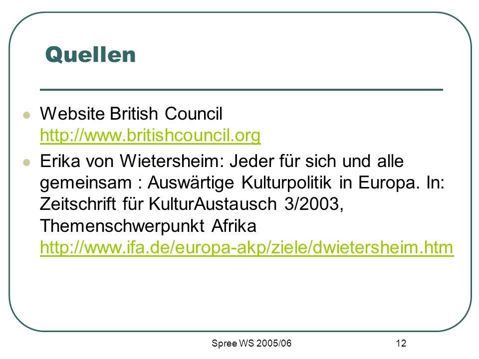 Spree WS 2005/06 12 Quellen Website British Council http://www.britishcouncil.org http://www.britishcouncil.org Erika von Wietersheim: Jeder für sich und alle gemeinsam : Auswärtige Kulturpolitik in Europa.