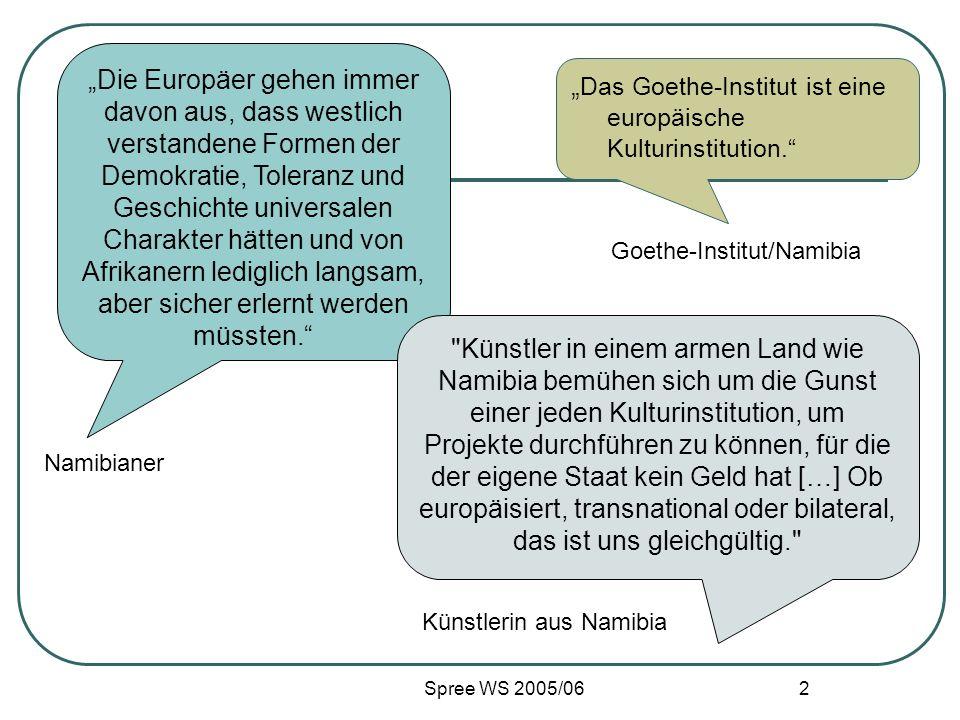Spree WS 2005/06 2 Das Goethe-Institut ist eine europäische Kulturinstitution. Die Europäer gehen immer davon aus, dass westlich verstandene Formen de