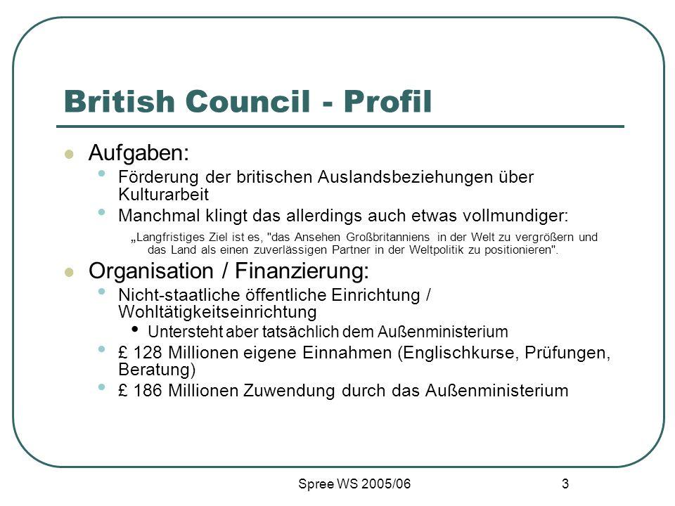 Spree WS 2005/06 3 British Council - Profil Aufgaben: Förderung der britischen Auslandsbeziehungen über Kulturarbeit Manchmal klingt das allerdings auch etwas vollmundiger: Langfristiges Ziel ist es, das Ansehen Großbritanniens in der Welt zu vergrößern und das Land als einen zuverlässigen Partner in der Weltpolitik zu positionieren .