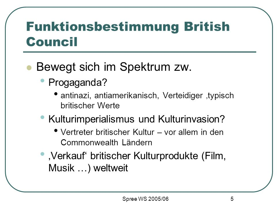 Spree WS 2005/06 6 British Council – Encompass – The Global Bookclub Weltweite Reading Groups Chat Autoreninterviews Diskussionsforen Online Reader in Residence Informationen zu Reading Groups