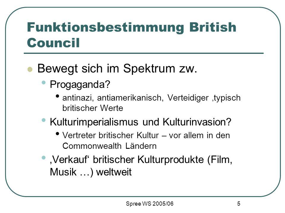 Spree WS 2005/06 5 Funktionsbestimmung British Council Bewegt sich im Spektrum zw. Progaganda? antinazi, antiamerikanisch, Verteidiger typisch britisc