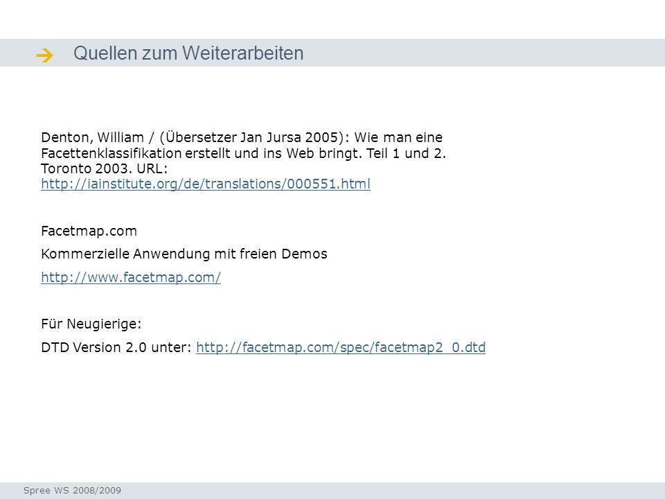 Quellen zum Weiterarbeiten Quellen / Ressourcen Denton, William / (Übersetzer Jan Jursa 2005): Wie man eine Facettenklassifikation erstellt und ins Web bringt.