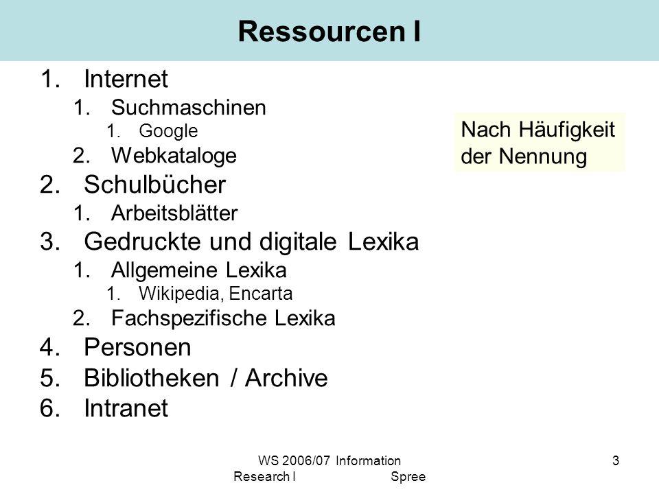 WS 2006/07 Information Research I Spree 3 Ressourcen I 1.Internet 1.Suchmaschinen 1.Google 2.Webkataloge 2.Schulbücher 1.Arbeitsblätter 3.Gedruckte un