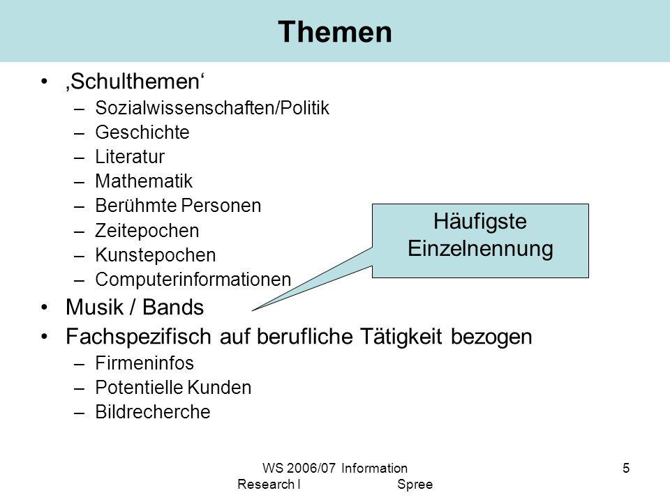 WS 2006/07 Information Research I Spree 5 Themen Schulthemen –Sozialwissenschaften/Politik –Geschichte –Literatur –Mathematik –Berühmte Personen –Zeit