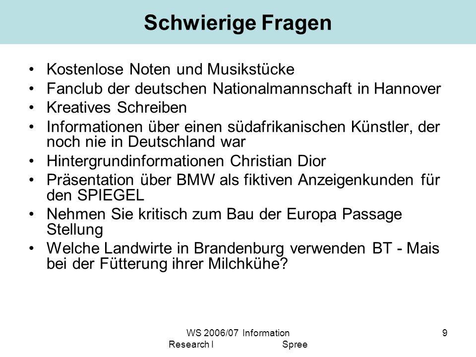 WS 2006/07 Information Research I Spree 9 Schwierige Fragen Kostenlose Noten und Musikstücke Fanclub der deutschen Nationalmannschaft in Hannover Krea