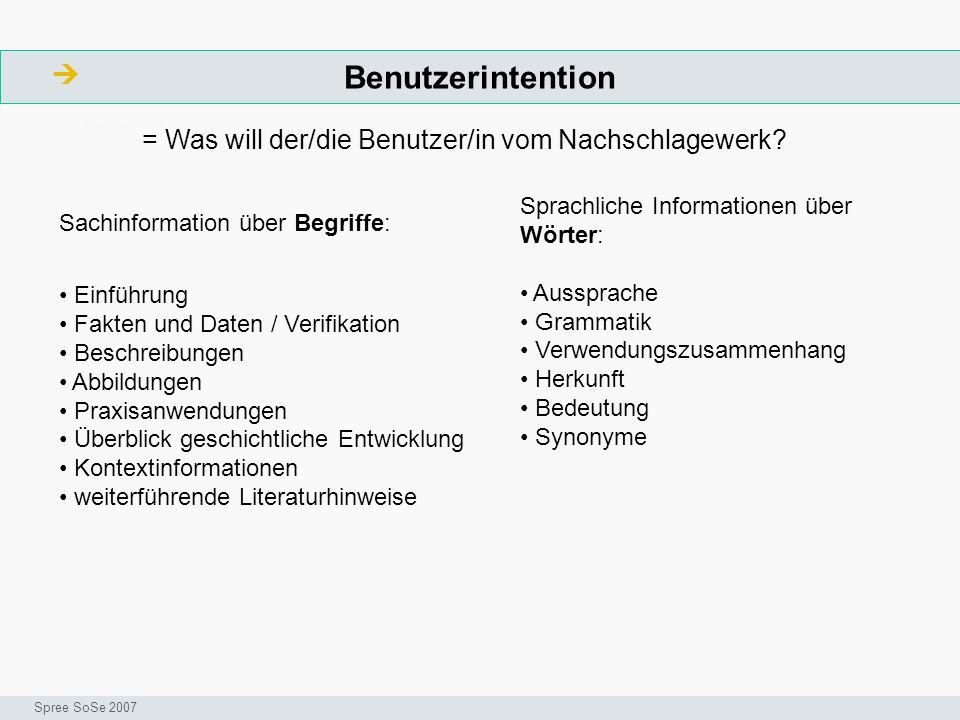 Benutzerintention ArbeitsschritteW Seminar I-Prax: Inhaltserschließung visueller Medien, 5.10.2004 Spree SoSe 2007 = Was will der/die Benutzer/in vom Nachschlagewerk.