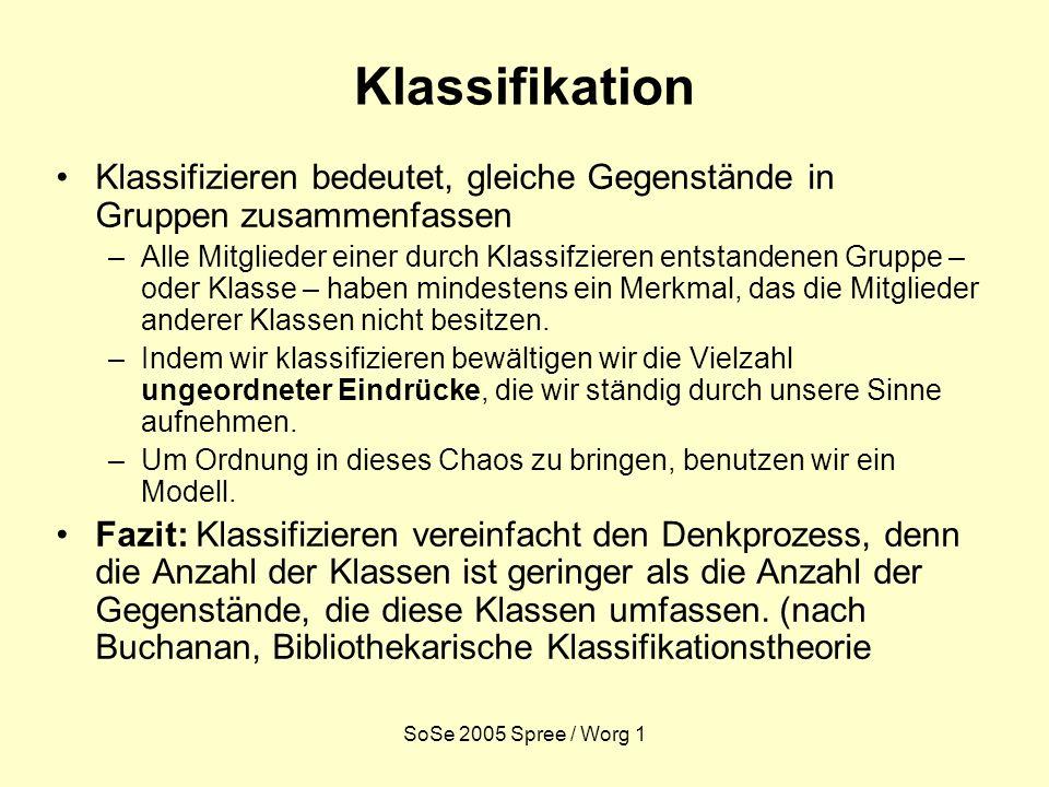 SoSe 2005 Spree / Worg 1 Klassifikation Klassifizieren bedeutet, gleiche Gegenstände in Gruppen zusammenfassen –Alle Mitglieder einer durch Klassifzie