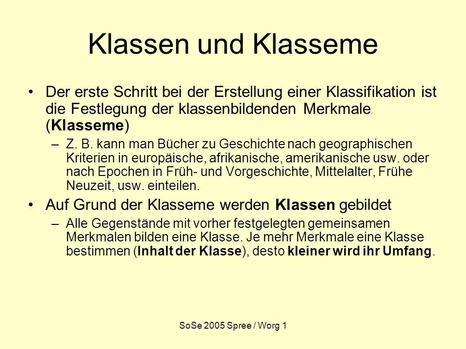 SoSe 2005 Spree / Worg 1 Klassen und Klasseme Der erste Schritt bei der Erstellung einer Klassifikation ist die Festlegung der klassenbildenden Merkmale (Klasseme) –Z.