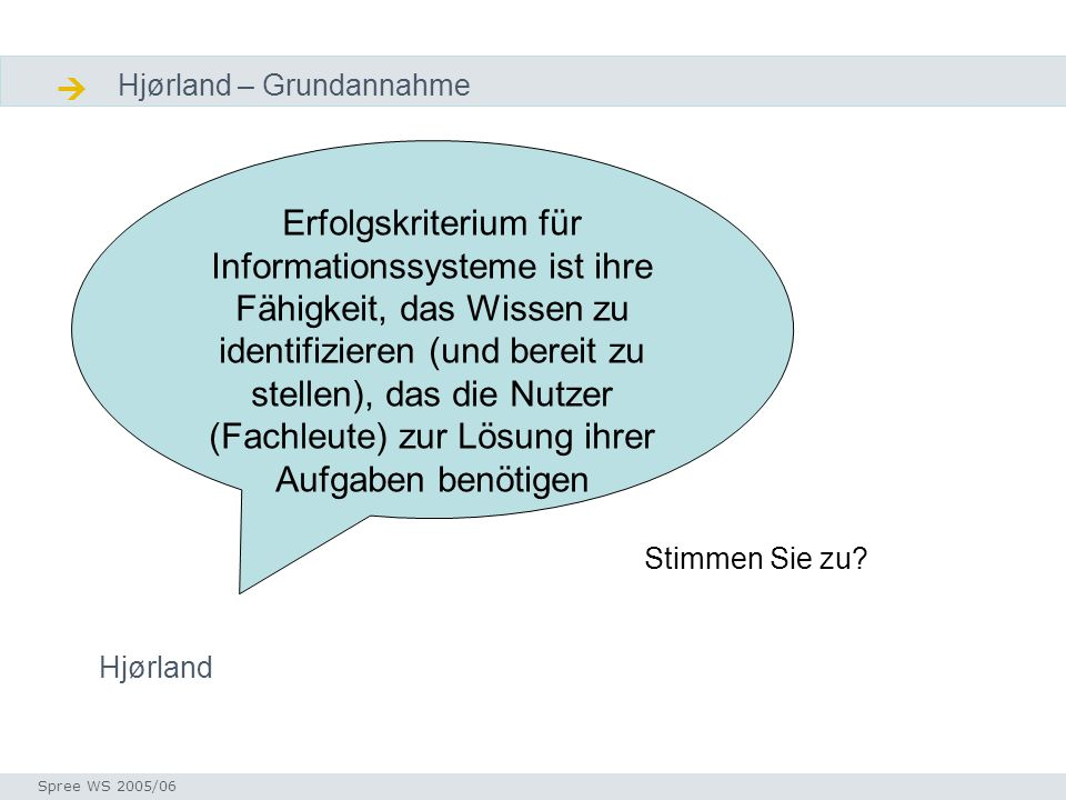 Diskussion Hjørland – Grundannahme Seminar I-Prax: Inhaltserschließung visueller Medien, 5.10.2004 Spree WS 2005/06 Diskusion Ausgangsthesen Erfolgskr