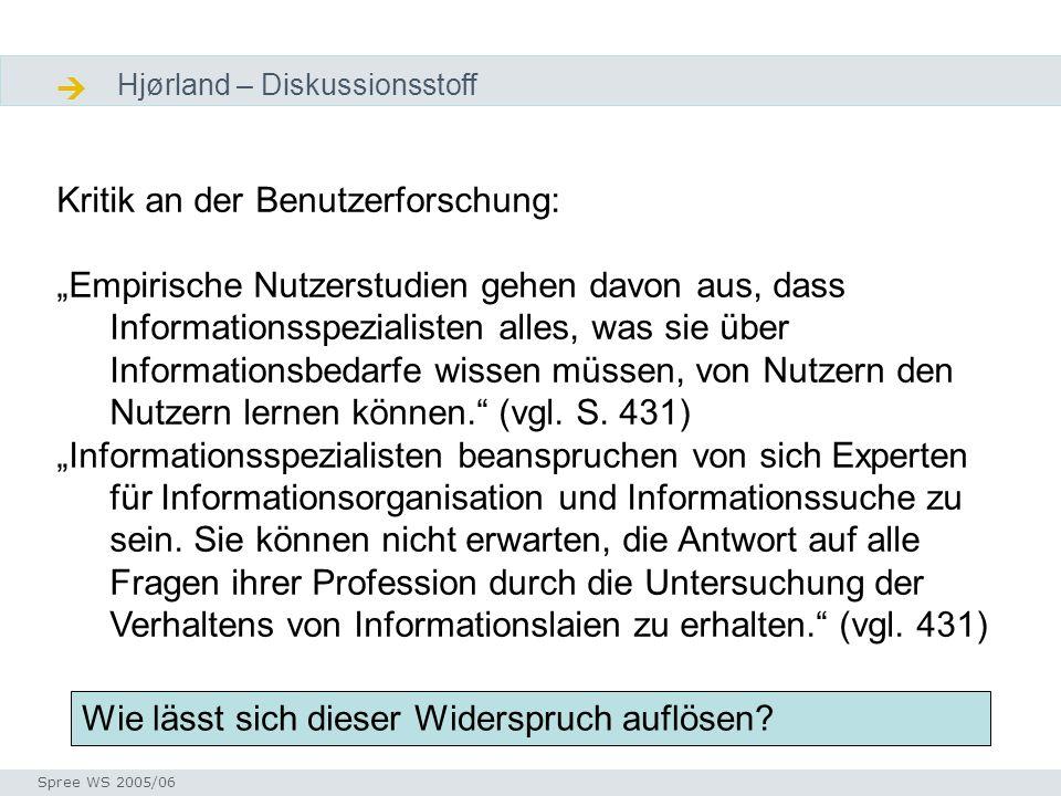 Diskussion Hjørland – Diskussionsstoff Kritik an der Benutzerforschung: Empirische Nutzerstudien gehen davon aus, dass Informationsspezialisten alles,