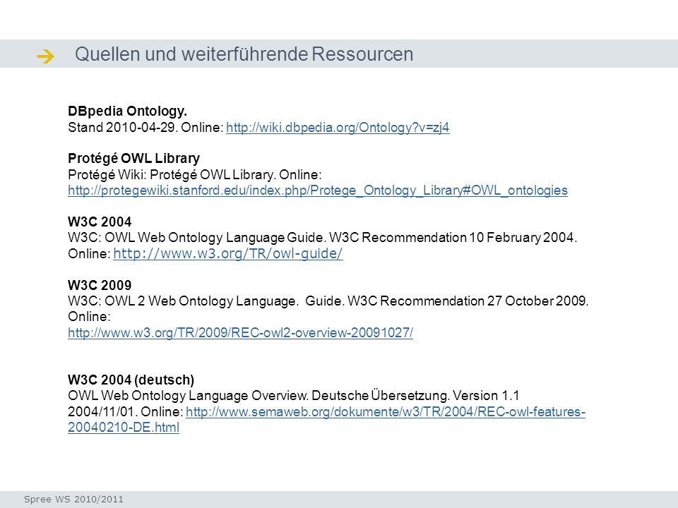 Quellen und weiterführende Ressourcen Quellen / Ressourcen DBpedia Ontology. Stand 2010-04-29. Online: http://wiki.dbpedia.org/Ontology?v=zj4http://wi