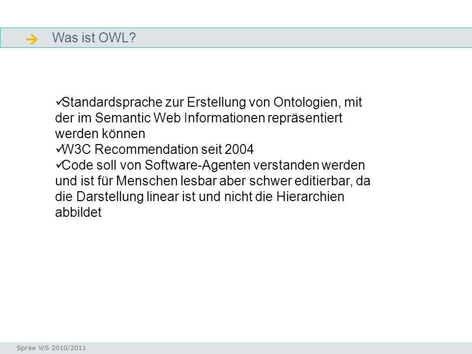 Was ist OWL? Facetten Seminar I-Prax: Inhaltserschließung visueller Medien, 5.10.2004 Spree WS 2010/2011 Standardsprache zur Erstellung von Ontologien