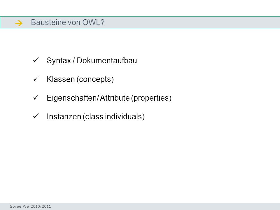 Aufbau OWL- Ontologie-Dokument Seminar I-Prax: Inhaltserschließung visueller Medien, 5.10.2004 Spree WS 2010/2011 Header Body Footer XML Deklaration und RDF Start Tag Ontologie-Element <rdf:RDF > Namespacedeklarationen Informationen über die Version Importierte Elemente Aussagen über Klassen, Eigenschaften und Individuen RDF-Endtag OWL-Dokumente können in XML und RDF dargestellt (serialisiert) werden.