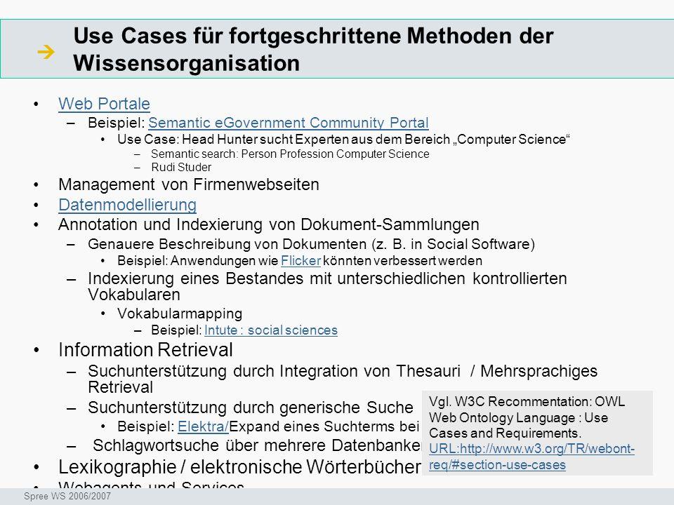 Use Cases für fortgeschrittene Methoden der Wissensorganisation Web Portale –Beispiel: Semantic eGovernment Community PortalSemantic eGovernment Commu