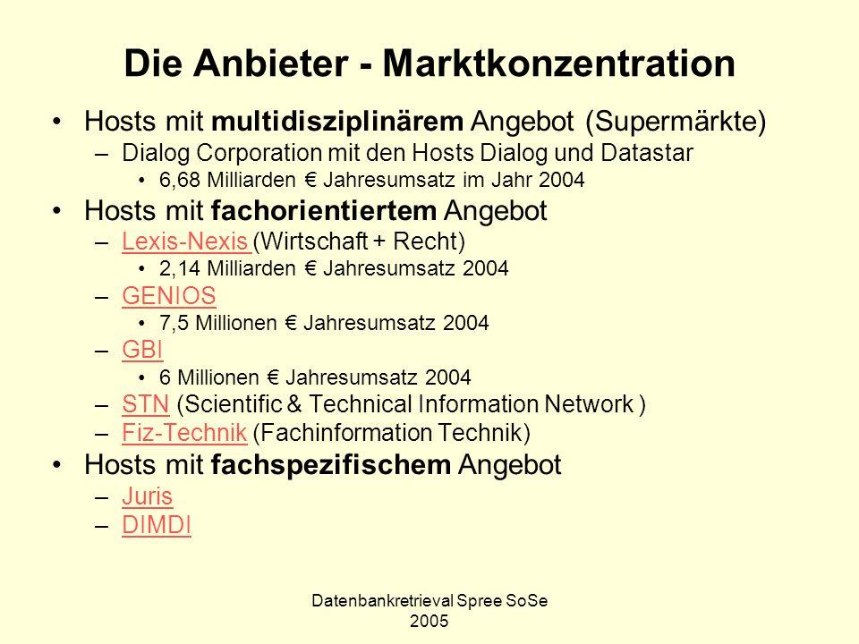 Datenbankretrieval Spree SoSe 2005 Die Anbieter - Marktkonzentration Hosts mit multidisziplinärem Angebot (Supermärkte) –Dialog Corporation mit den Ho