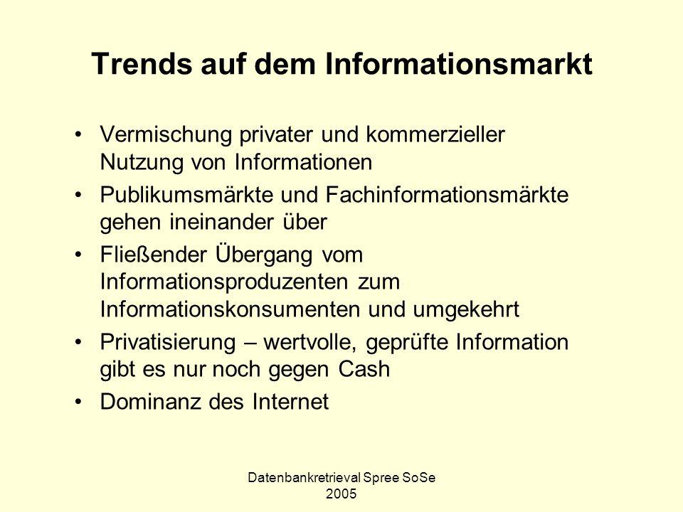 Datenbankretrieval Spree SoSe 2005 Trends auf dem Informationsmarkt Vermischung privater und kommerzieller Nutzung von Informationen Publikumsmärkte u