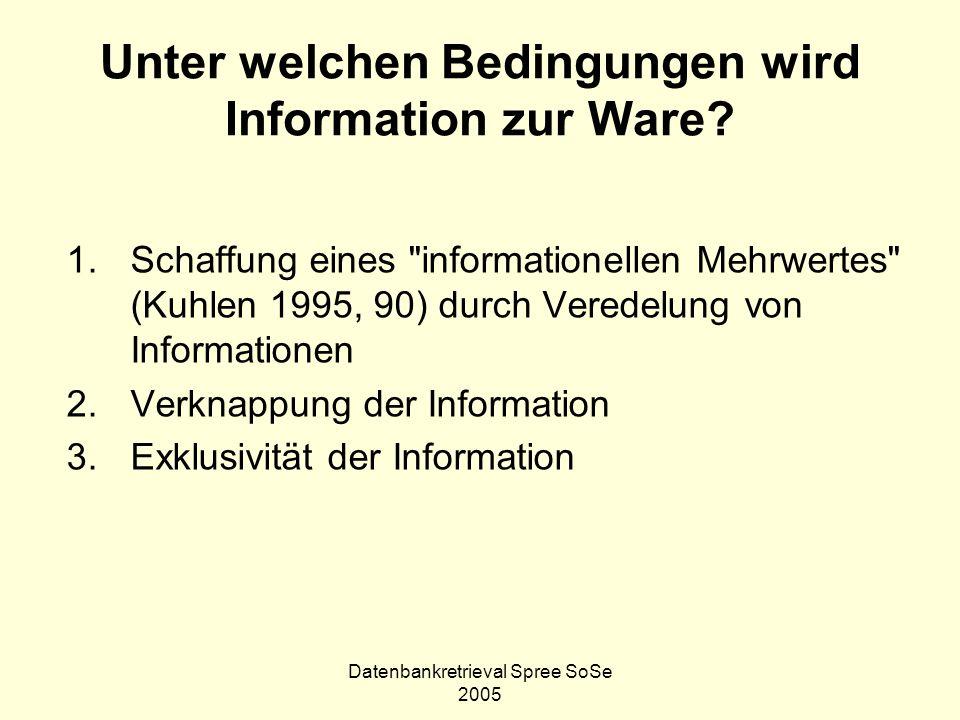 Datenbankretrieval Spree SoSe 2005 Unter welchen Bedingungen wird Information zur Ware? 1.Schaffung eines